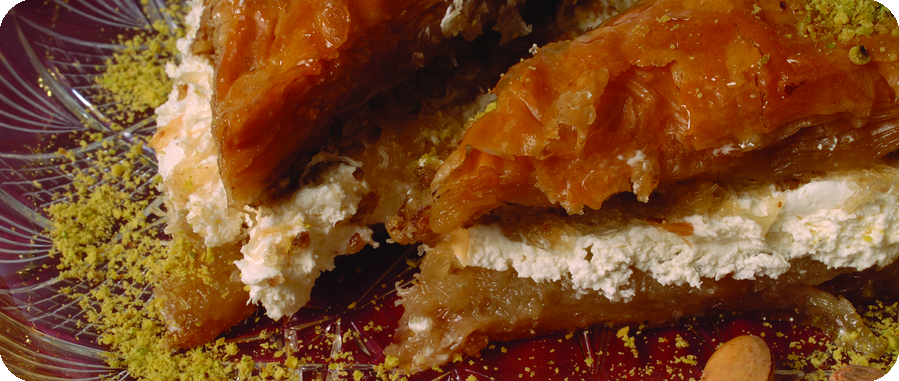 baklava with whipped cream